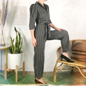 Vintage 80's Puff Sleeve Striped Jumpsuit